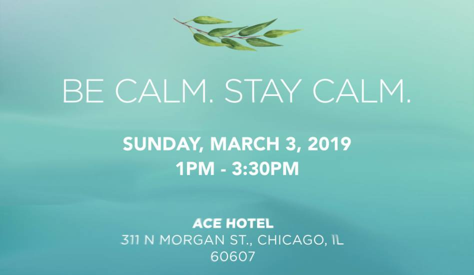 Be Calm. Stay Calm. March 3, 2019, Ace Hotel Chicago